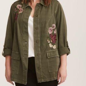 NWOT Torrid Green Embroidered Floral Jacket 3X